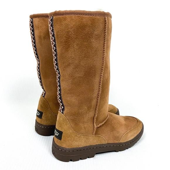 UGG Ultra Tall Tasman Braid Chestnut Suede Boot